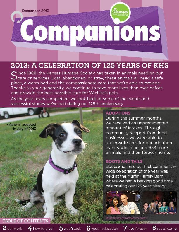 newsletter 2013 december coverb- KHS Reports - Kansas Humane Society - Animal Shelter
